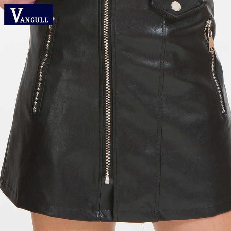 Vangull moda vestido de couro feminino macio do falso do plutônio vestido de couro 2019 nova cinta com decote em v sexy magro cinto curto mini vestido vestidos