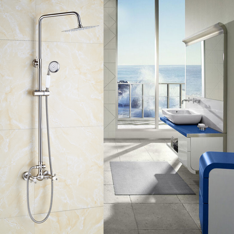 Factory Retail Bathroom Shower Mixer Faucet with Two Handles Nickel Brushed Wall Mounted