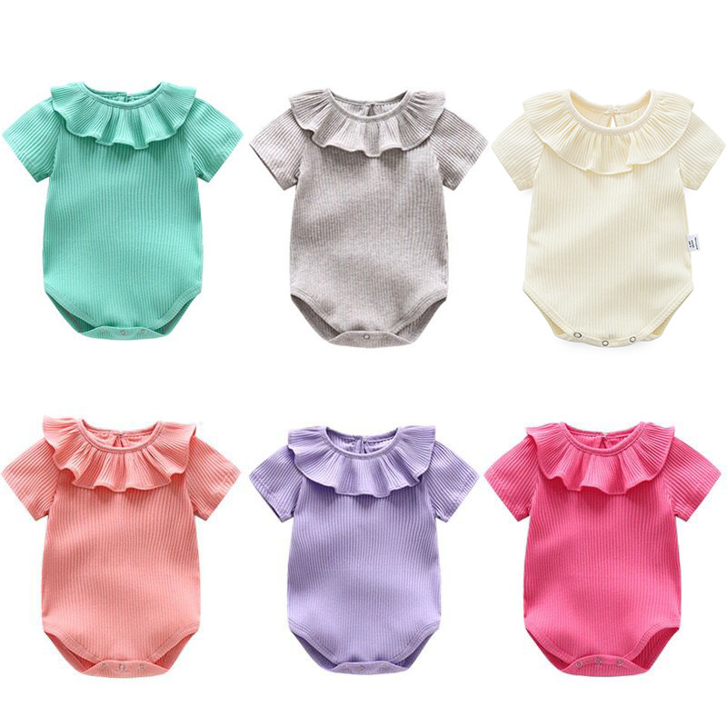 High Quality Brand Baby Clothes Solid Short Sleeve Cotton Playsuit Ruffled Collar Onesie Summer Clothes Baby Girl Romper LT23