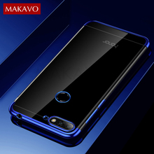 MAKAVO For Huawei Honor 7C Pro Case Luxury Soft Silicone Transparent Plating Cover For Honor 7C Honor7C Phone Cases