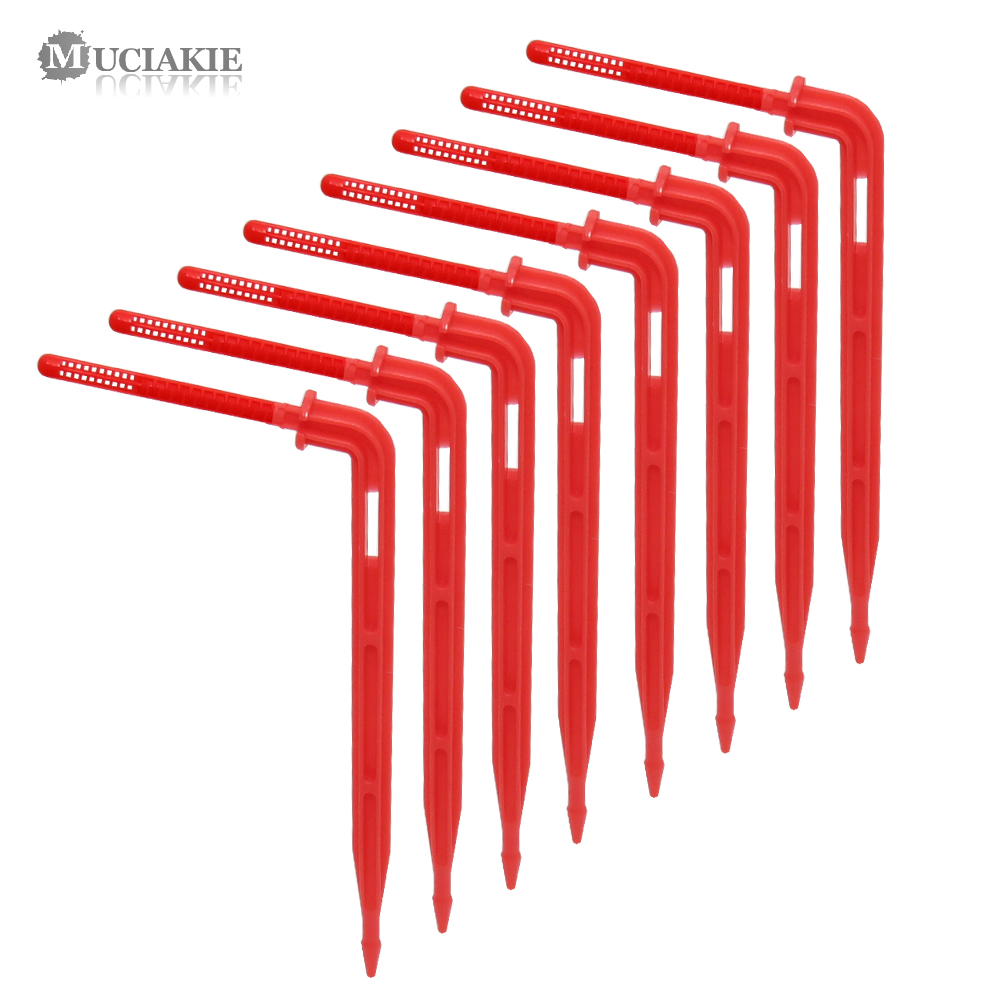 MUCIAKIE 50PCS Red Elbow Drippers Garden Micro Irrigation Emitter 3/5m Arrow Drip 1/8'' Drippers Water Drop Irrigation