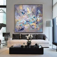 Handmade Thick Knife High Quality Modern Abstract Fine Artwork Canvas Gold Blue Colorful Bedroom Artwork Wall