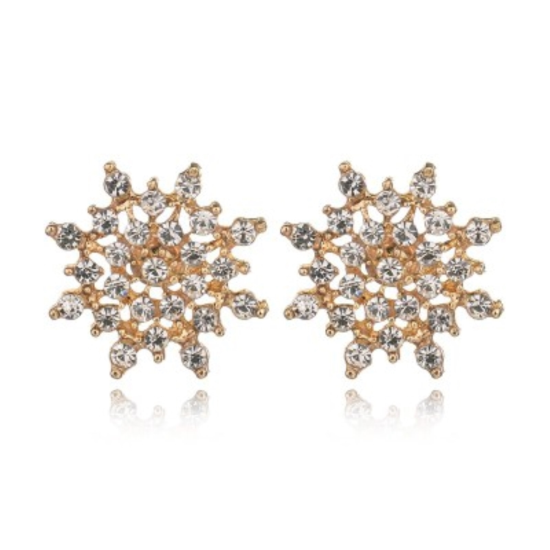rhinestone earings gold silver snowflakes stud earrings with stones for women Exquisite jewelery wedding jewelry new year gifts