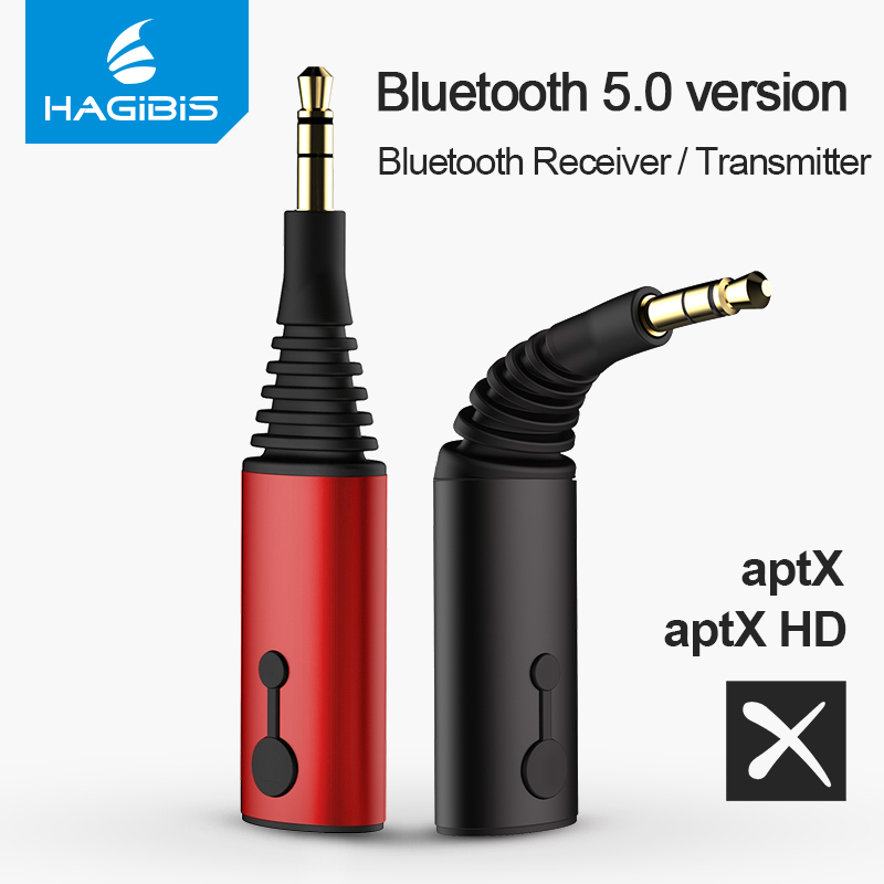 Hagibis Bluetooth receptor transmisor 3,5mm Aptx 2in1 5,0 adaptador Bluetooth para auriculares altavoz transmisor de Audio inalámbrico TV