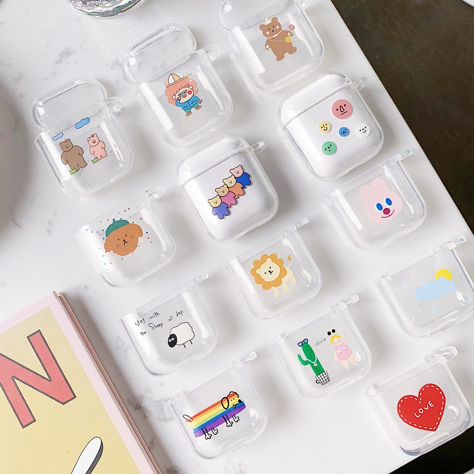 Lovely For Airpods2 Wireless Charge Case Silicone Soft Tpu Cover For Air Pods Cases Cute Key Rings  Shockproof Headphone Box Bag