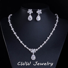 CWWZircons Bridal Accessories White Gold Color Sparkling Cubic Zirconia Crystal Bridesmaid Jewelry sets for Wedding Gift T120