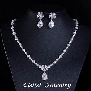 Image 1 - CWWZircons accessoires de mariée, couleur or blanc, zircone cubique scintillante, ensembles de bijoux pour demoiselle dhonneur, pour cadeau de mariage T120