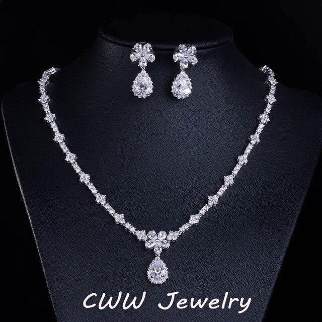 CWWZircons accessoires de mariée, couleur or blanc, zircone cubique scintillante, ensembles de bijoux pour demoiselle dhonneur, pour cadeau de mariage T120