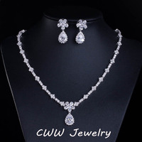 Luxury Bridal Accessories White Gold Plated Sparkling Cubic Zirconia Crystal Bridesmaid Jewelry Sets For Wedding Gift