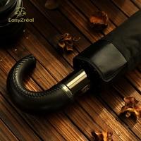 Fashion Explosion Models Leather Handle 10 Rib Strong Automatic Umbrellas Wind Resistant Men Black Three Folding