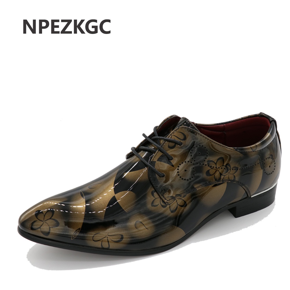 NPEZKGC Men shoes Lace-Up Pointed Toe Casual Business Dress shoes Patent Leather Male Wedding Oxfords shoes plus size 38-48 okhotcn male pointed toe cow leather shoes daily plaid men casual business dress shoes oxfords men flat lace up sapato masculino