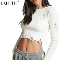 2019 Spring Short Ripped Sweater Holes Sexy Sweater Ladies Slim Crop Top Long Sleeve Knitting Sweaters Autumn Women Pullovers