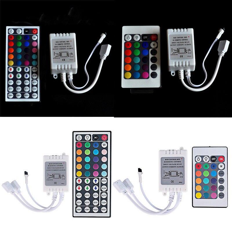 DC12-24V 24/44 clé IR télécommande sans fil contrôleur gradateur Mode dynamique infrarouge + boîte de contrôle pour 5050 3528 RGB Led bande lumineuse