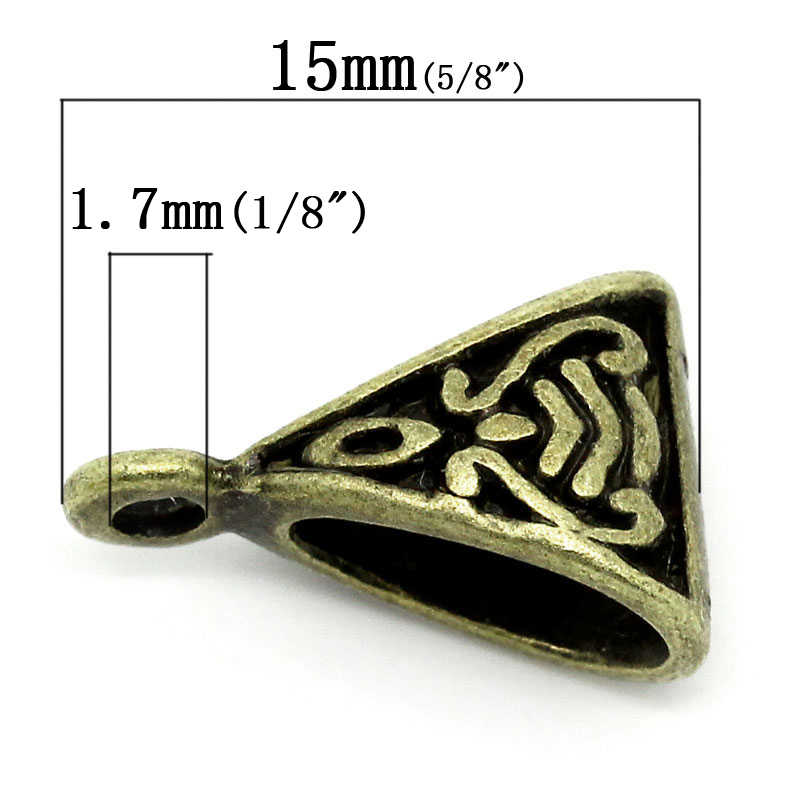 """ยุโรปสไตล์ Bails ลูกปัดสามเหลี่ยม Antique Bronze รูปแบบ 15 มิลลิเมตร (5/8 """") x 9 มิลลิเมตร (3/8 """"), 8 ชิ้น"""
