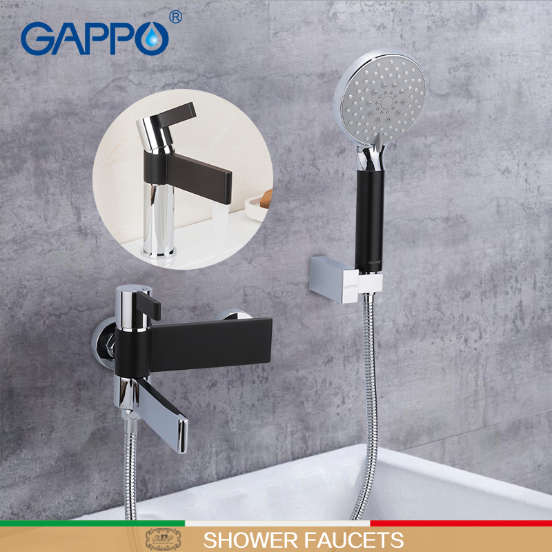 GAPPO Shower faucet bathroom mixer chrome and black bathroom faucet mixer shower sets with basin faucet