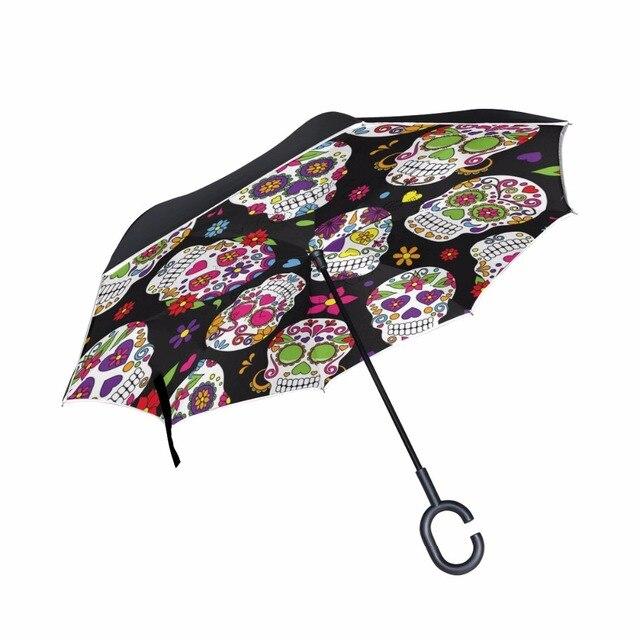 Popular Business type Double Layer Car Reverse Umbrellas Women Men Windproof Skull Inverted Umbrella