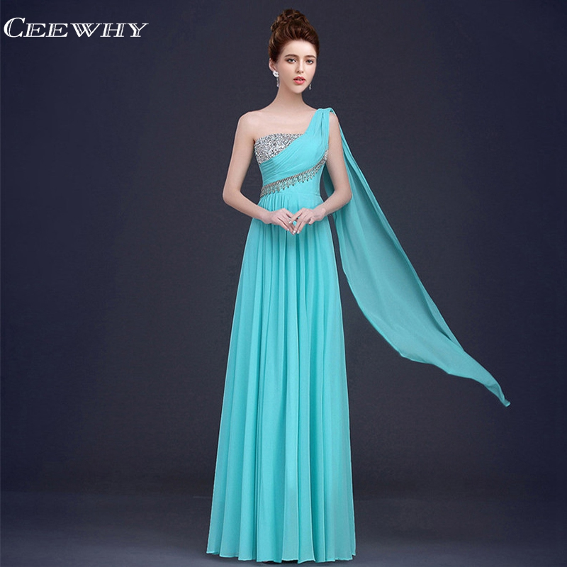 ff7b22e2bb225 US $65.9  CEEWHY One Shoulder Mother of the Bride Dresses Chiffon Evening  Dresses Long 2018 Prom Dress Crystal Abendkleider Robe De Soiree-in Evening  ...