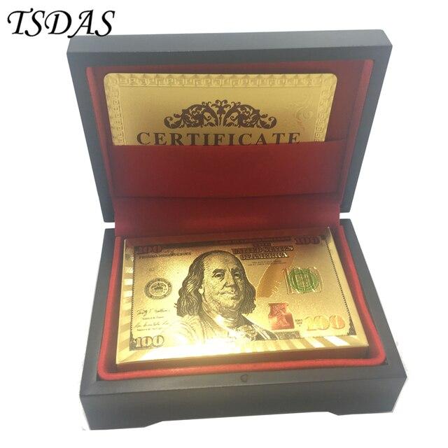 2a45c4d553e 골드 포커 카드 골드 도금 usd 100 달러, 검은 나무 상자와 멋진 컬러 사용자