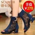 Новый 2014 весной и летом женская обувь открытым носком сандалии кружева чистые ботинки натуральная кожа плюс размер марлевые сандалии бесплатно shipM20
