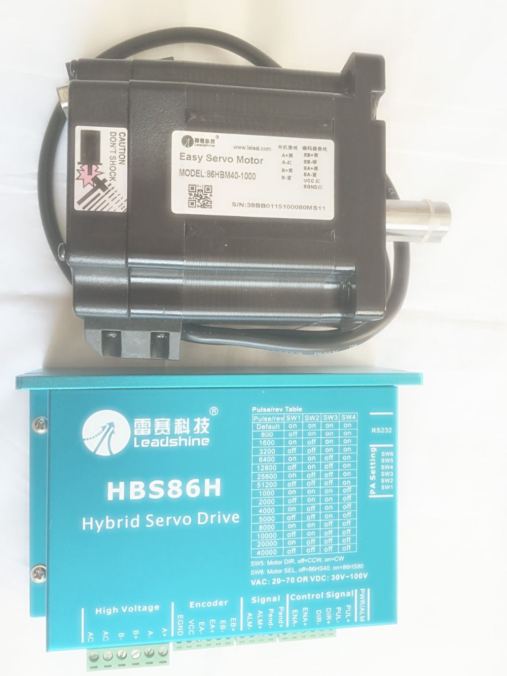 New Leadshine Closed Loop Stepper Drive HBS86H servo motor 86HBM40-1000 with 1000 line encoder HBS806  ES-D808 nema23 3phase closed loop motor hybrid servo drive hbs507 leadshine 18 50vdc new original