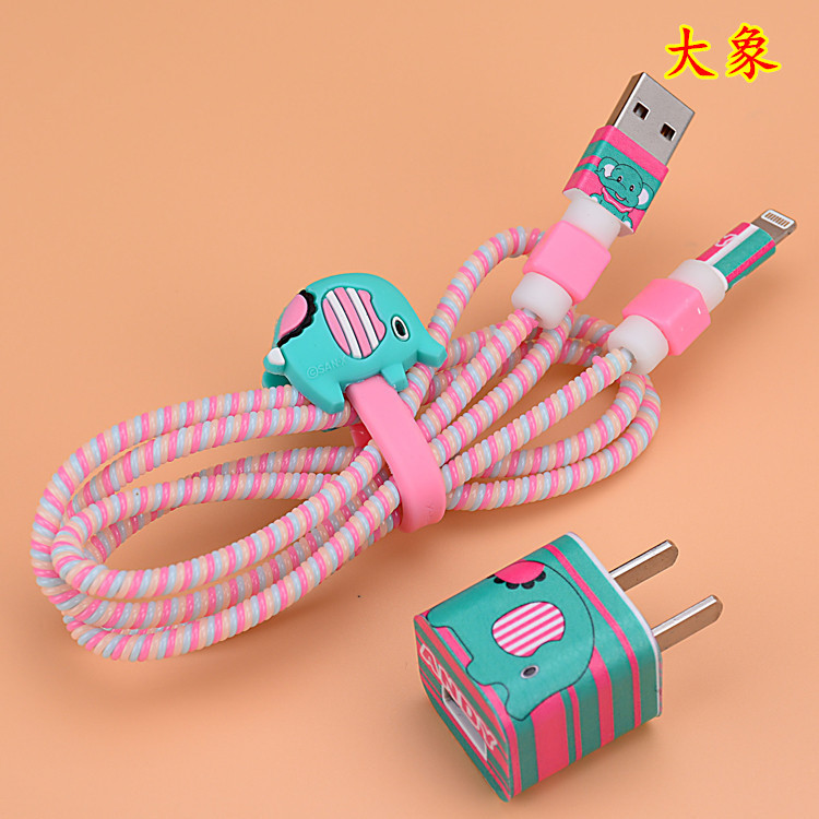 new elephant style cartoon usb cable earphone protector set with cable winder stickers spiral cord protector for iphone 5 6 6s
