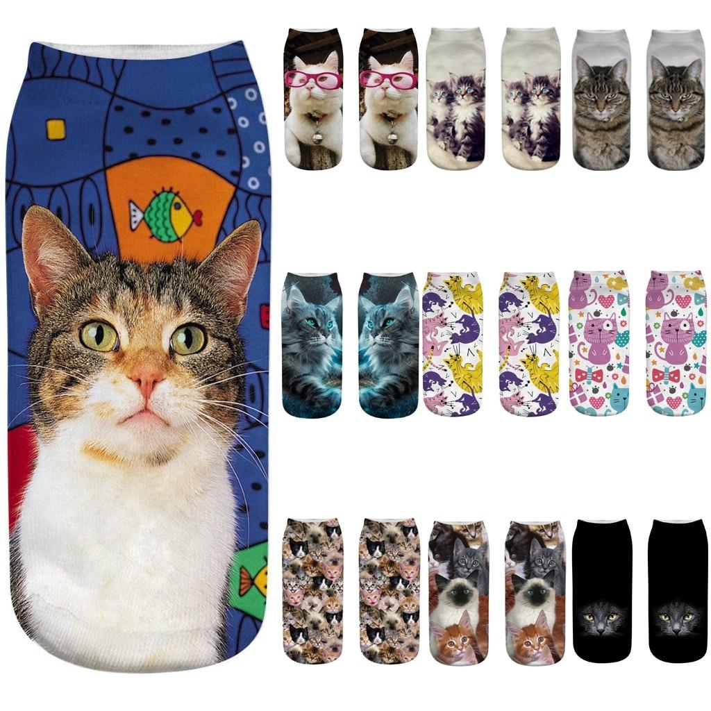 New Design 3D Cat Print Women Socks Unisex Women 3D Novelty Crazy Funny Cat Ankle Socks Cute Colorful Cartoon Low Cut Socks Z328