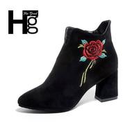 HEE GRAND Women Winter High Quality High Heel Boot Plush Warm Autumn Flower Lady Girl Black
