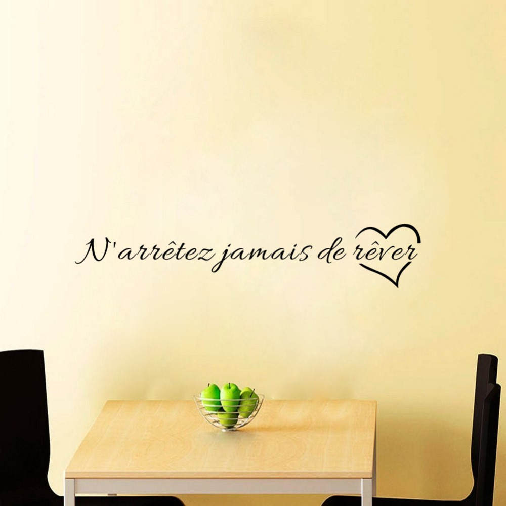 Classic French Quote Never Stop Dreaming Wall Decals for Living Room Office Kids Bedroom Art Vinyl Wall Stickers image