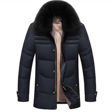 2016 Winter Jacket Men Solid High Quality Jackets Mens White Duck Down Coat Parkas With Real Fox Fur Hood