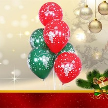 Dark green Christmas balloons 50pcs 12 inch 2.8g spherical latex print red helium ballon happy new year decoration 2019 balloon