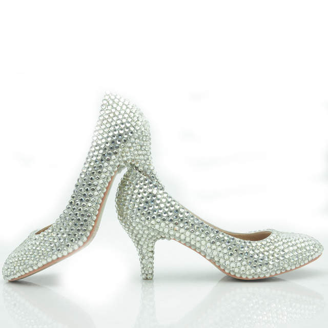 placeholder 2018 Middle Heel Bridesmaid Shoes Silver Color Wedding Shoes  Glitter Women Comfortable Party Prom Shoes Plus d1a2ea1f6cab
