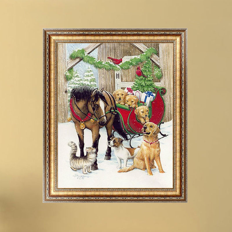 leo MA  NEW DIY 5D Diamond Painting Dogs Horse Embroidery Cross Stitch Home Decor Craft 38cm*30cm
