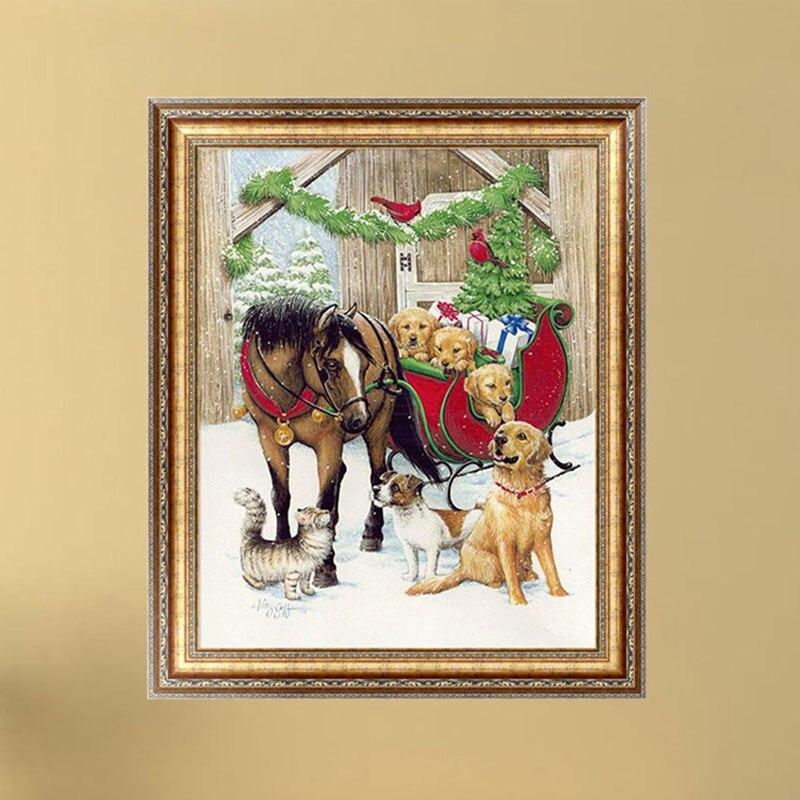 NEW DIY 5D Diamond Painting Dogs Horse Embroidery Cross Stitch Home Decor Craft 38cm*30cm