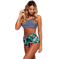 Bikini Striped Women Swimsuit Bikini Push Up Sexy Floral Printing Swimwear High Waist Swimwear Women Bikini