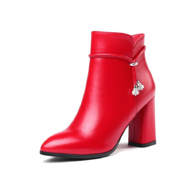 2019 autumn and winter new pointed thick with high heel Martin bootling fashion womens booties red 03072019 autumn and winter new pointed thick with high heel Martin bootling fashion womens booties red 0307
