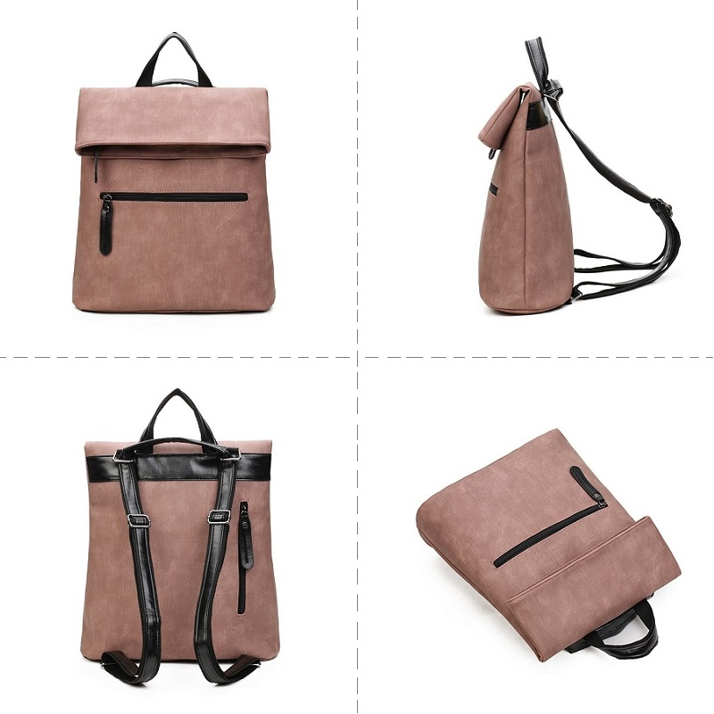 2 PCS/SET Luxury Pink Backpack Women Leather Backpacks Female School Shoulder Bag For Teenagers Mochila Feminina