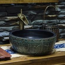 Porcelana artística porcelana hecha a mano Europa Vintage cerámica Lavabo sobre encimera redondo cuadrado