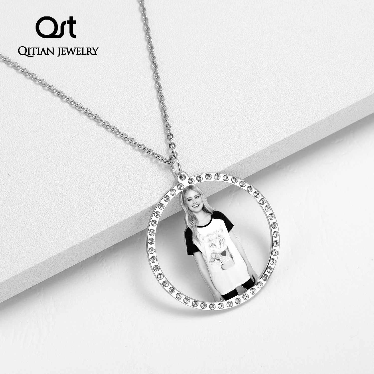 Personalized Necklace Custom Made Photo Medallions Necklace & Pendant  Chain Gold Silver Color Cubic Zircon Men's Hiphip Jewelry