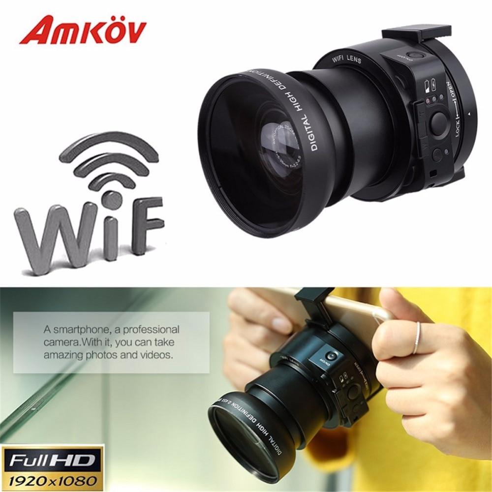 AMKOV OX5 4X 5X Оптический Зум Wi-Fi Цифровая Фотокамера видеокамера Мини Селфи Объектив стиле 20MP Full HD 1080 P 30fps PC камера