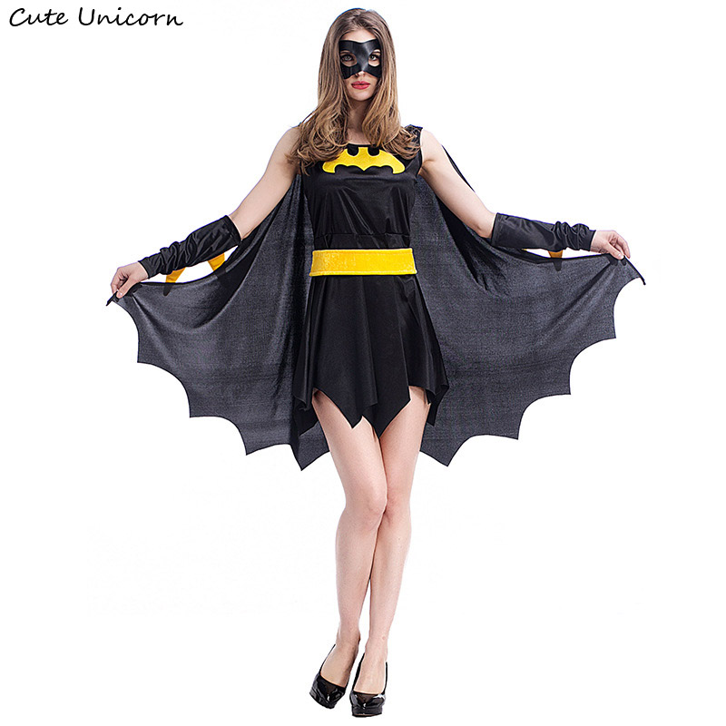 Superhero Batman <font><b>Halloween</b></font> Costumes for women party <font><b>Cosplay</b></font> Costume batgirl dress with cloak girls clothes <font><b>sexy</b></font> outfit image