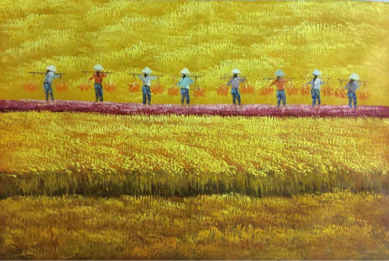 hand painted modern abstract vietnam harvest scene beautiful landscape oil painting canvas wall