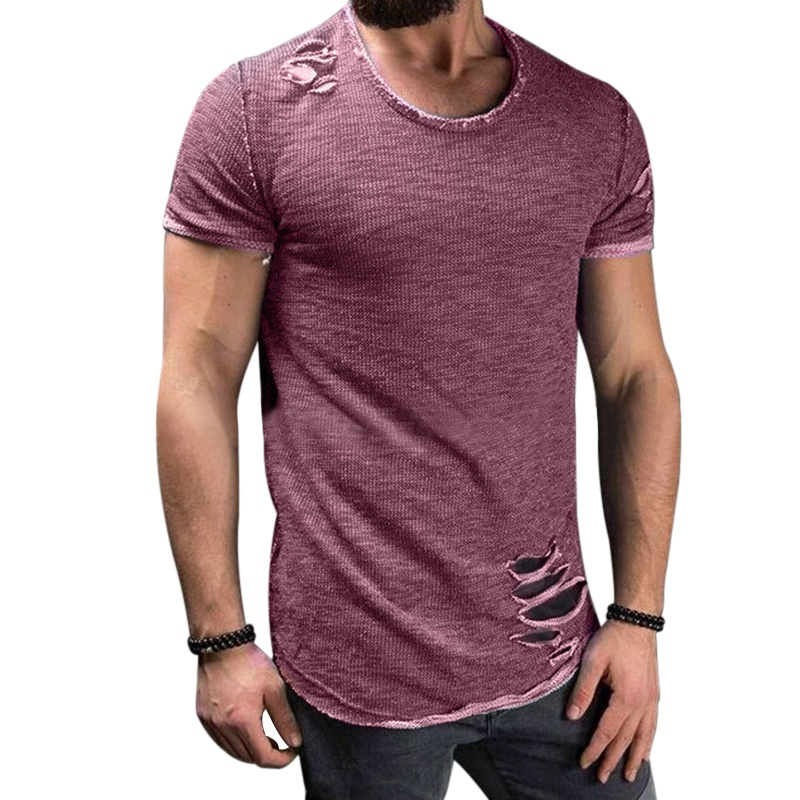3aa0f6ea473 Laamei 2018 Fashion Summer Ripped Clothes Men Tee Hole Solid T-Shirt Slim  Fit O Neck Short Sleeve Muscle Casual Jersey Tops Tees
