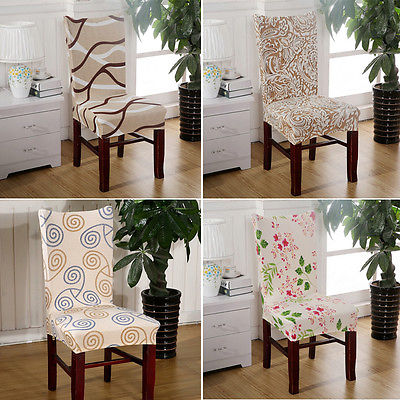 Removable Floral Stretch Short Dining Room Stool Chair Cover Slipcovers Printed Flat Pad
