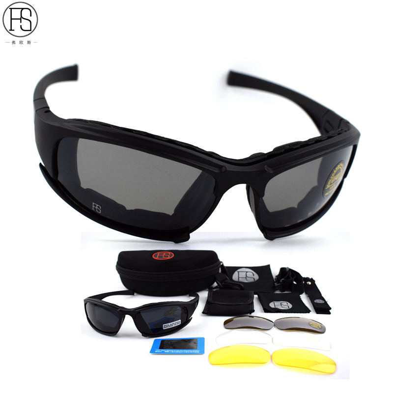FS Brand X7 Army Goggles Sunglasses Men Military Sunglasses Male 4 Lens Kit For Mens War Game Tactical Glasses Outdoor