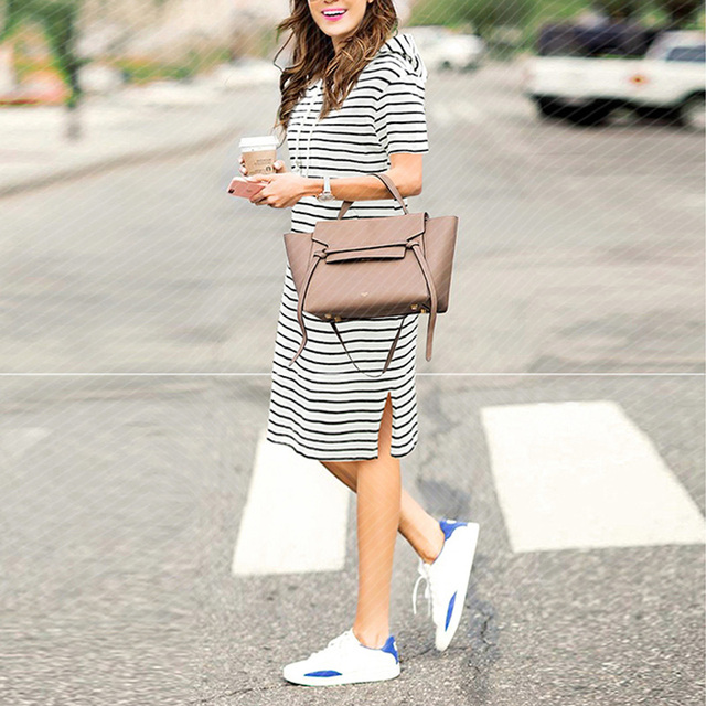 Summer Striped Dress plus size dresses for women 4xl 5xl Womens Big Size Casual Work Office Wear Loose  Short Sleeve Hoodies