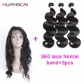 7A 360 Lace Frontal Closure With Bundles Brazilian Body Wave  Top 360 Frontal With Bundles Huamn Virgin hair body