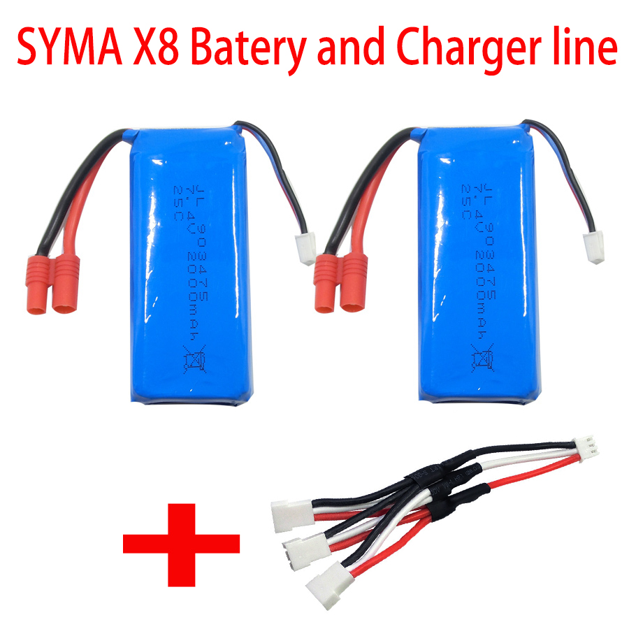 2 Pcs 2000 Mah LI po Battery + 3 In 1 Charger Line Cable For Syma X8C X8W X8HC X8HW X8 Spare Parts Set 3pcs 3 7v 900mah li po battery 3 in 1 black us regulation charger and charging cable for rc xs809 xs809hc xs809hw drone