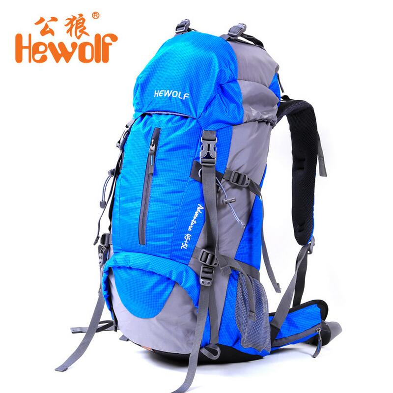 ФОТО Hewolf Outdoor Camping 50L backpack Men and Women mountaineering bag rucksack riding equipment Hiking Travel backpack fishing