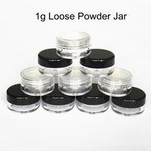 48 teile/los 1g/1ml Leer Lose Pulver Behälter Kunststoff Kosmetische Jar Make Up Fall mit Sichter Puff Probe container Creme Jar