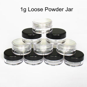 Image 1 - 48pcs/Lot 1g/1ml Empty Loose Powder Container Plastic Cosmetic Jar Makeup Case with Sifter Puff Sample Container Cream Jar